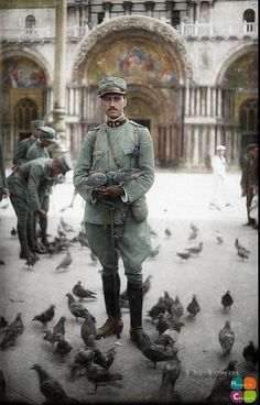 Italian officer, Peppino Ciabattoni outside of the Basilica Cattedrale Patriarcale di San Marco in Venice, before returning to the Front. December 1915.  (Courtesy of Giampaolo Paoletti - Ascoli Piceno)  (Colourised by Frédéric Duriez from France)