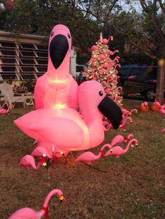 Flamingo Christmas lawn decor