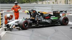 Sergio Perez's Monaco grand Prix lasted just half a lap thanks to a moment at Mirabeau when he got a little too close to McLaren's Jenson Button.