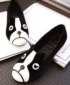 Black Velvet Flat Shoes with Dog Face Print