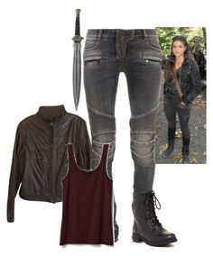"""Octavia Blake - The 100"" by gone-girl ❤ liked on Polyvore featuring American Eagle Outfitters, Balmain, Theory, Red Circle, the100, octaviablake, Grounder, OctaviaOfTheSkyPeople, OkteiviaKomSkaikru and SkyGirl"