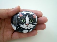 Painted Tuxedo Cat  Rock, painted stone art, gift  for pet lovers cat lovers, paper weight, collectibles. $28.00, via Etsy.
