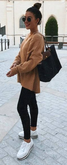 Cozy Fall Outfit Brown Sweater Plus Bag Plus Skinnies Plus Sneakers