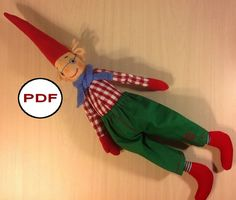 Soft textile doll Christmas Elf ( scandinavian gnome ) . Rag doll sewing pattern and Tutorial ( IN ENGLISH) - Instant download. You can make this cloth Pixie elf with your hands for your children and make a cute and lovely gift to your friends. Finished doll is 20,47 inches ( 52 cm). #Dollpattern #Softdollpattern #clothdollpattern #ragdollpattern #dollmaking #Dollsewing #gnomepattern #elfpattern NatashaArtDolls на Etsy