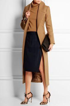 Camel coat, came sweater, navy skirt, sheer tights, and aquazzura pumps