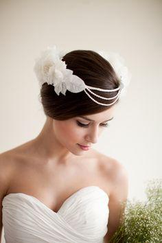 Silk Floral Crown, Bridal Head Piece, Hair Wreath with Pearls, Flower Halo - Constance. $230.00, via Etsy.