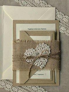 Hessian and lace invitation