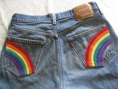 Hippie rainbow jeans/upcycled Levi's 501 jeans/waist by BohoRain, $40.00