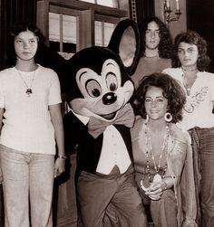 Elizabeth Taylor visiting Disneyland with children Liza Todd, Maria Burton and Christopher Wilding