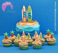 """Surf's Up"" Cupcakes and matching Ocean Waves and Sand Cake @Tara Harmon Harmon Harmon Aguilar"