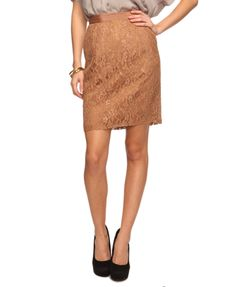 $20 Lace Pencil Skirt in Tan from forever21.com