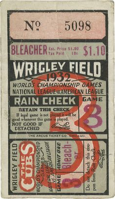 "Heritage Large Image - Baseball Collectibles:Others, 1932 World Series Babe Ruth ""Called Shot"" Game Ticket Stub. Theword ""Bleacher"" emblazoned on this ticket leads us to wonde... Image #1"