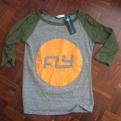 NWT Flywheel Baseball Tee Size Small. Brand New! 50% Polyester, 37% Cotton, 13% Rayon. Flywheel Tops Tees - Long Sleeve