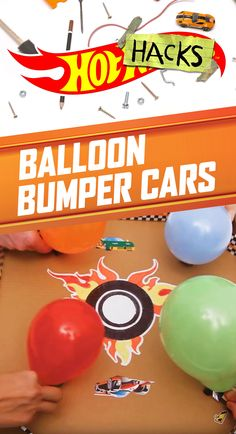 Give kids' competitive spirits a boost with Balloon Bumper Cars. Kids can make their own aren a with a pizza box, washi tape and stickers. Then, kids can inflate balloons, tape them to Hot Wheels cars, and then let them go to see who is the last one standing. Find details on how to build this indoor party game on our DIY Hot Wheels Hot Hacks video here.
