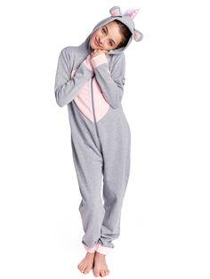 6db500764373e Combinaison légère Pyjama Licorne Gris Chiné Enfant