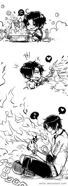 "zefiar:  "" MarcoAce week Day2 - Hobbies  Take care and being taken care (?)  How I can bath, dry and comb the blue flame Phoenix? Just leave it to Ace lol  """