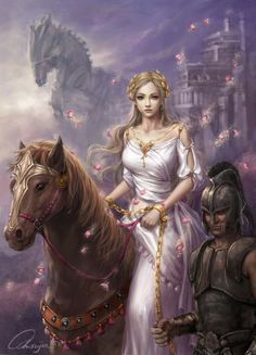Helene of Troy Picture  (2d, fantasy, illustration, girl, woman, horse, princess)