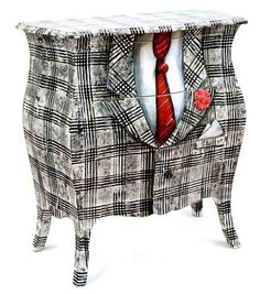 Photo: For those who like quirky ~ vintage chest of drawers painted as a mens suit ~  Yes or No?? <3   pinterest