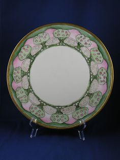 "Jean Pouyat (JP) Limoges Arts & Crafts Fruit Tree Motif Tray/Charger (Signed ""L.C.""/c.1890-1932)"