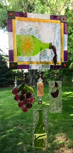 Painted Glass Art Old Windows Fused Glass Art, Stained Glass, Glass Wind Chimes, Suncatchers, Picnic Blanket, Wine Glass, Art Projects, Crafty, Artwork