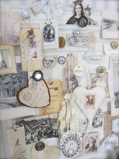 INSPIRATION: a pressed ceiling tin serves as an inspiration board by Petite Michelle Louise Inspiration Boards, Design Inspiration, Board Ideas, Altar, Kawaii Planner, Dream Studio, Studio Art, New Crafts, Room Organization