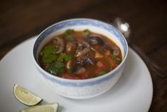 Mushroom & Tomato Tom Yum - delicious Thai soup, fragrant, spicy, full of depth and flavour. Vegan :-) Thai Soup, Lime Salt, How To Cook Mushrooms, Stuffed Mushrooms, Stuffed Peppers, Vegetable Puree, Tomato Seeds, Fresh Coriander, Light Recipes