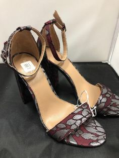 Merona Sassy Gray And Maroon Block Heel With Staps Size 7.5  fashion   clothing   a9de80a9c