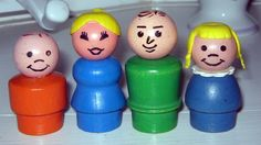 Vintage Fisher Price Wood Little People Family ~ I remember my siblings having fights with these! LOL
