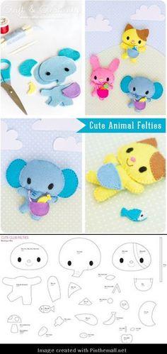 Felt Elephant, Bunny and Kitty Patterns