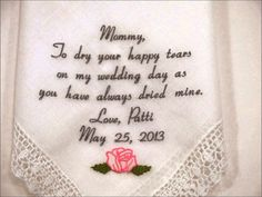 Wedding Handkerchiefs by Napa Embroidery