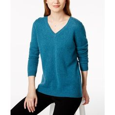 Charter Club V-Neck Cashmere Sweater, Created for Macy's ($70) ❤ liked on Polyvore featuring tops, sweaters, blue opal heather, long sleeve v neck sweater, blue cashmere sweater, cashmere v-neck sweater, blue long sleeve top and long sleeve tops