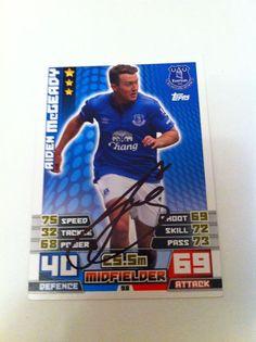 Aiden McGeady Everton Footballer Signed Match Attax 2014 Trading Card/autograph