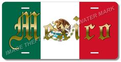 """Mexico Mexican 100% Aluminum Vanity License Plate Tag 6"""" x 12"""" Green White Red"""