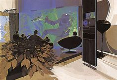 """Design and illustration by Syd Mead from the book """"Senteniel"""" (1971).  Three-dimensional image screen, Philips. """"The family is enjoying a space program ... which is projected onto a three-dimensional image screen. On the right there is a very slim, porcelain-finished control panel containing a flat screen monitor and various touch plates for controlling the system."""""""