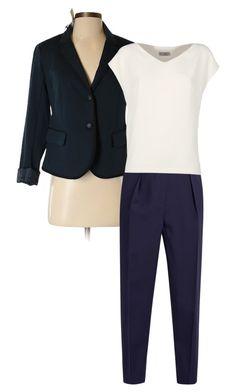 Navy blue blazer & pants by osalik on Polyvore featuring Alberto Biani, Gap and Roksanda