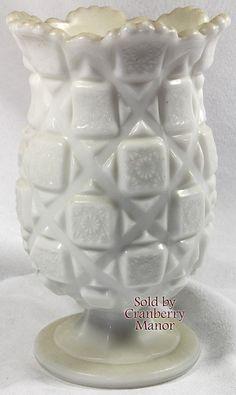 Westmoreland Milk Glass Old Quilt Celery Vase White Wedding Bride Bridal Accessories Vintage American Designer Home Decor Serving Housewares