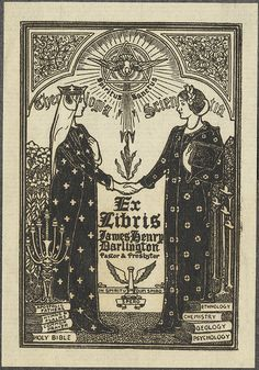 """James Henry Darlington - bookplate by Louis Rhead, 1902 (via bibliodyssey.blogspot.com)     """"Two women (Theology and Science) shake hands under symbol of the Holy Spirit"""""""