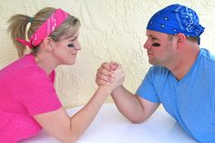 Photo Idea for a Gender Reveal post card: Team PINK vs. Team BLUE!    imagine it as a series of photos, with the gender of the baby winning!!!