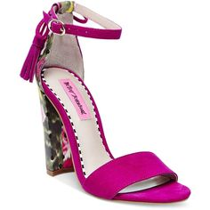 Betsey Johnson Rallo Two-Piece Block-Heel Sandals ($69) ❤ liked on Polyvore featuring shoes, sandals, fuchsia, betsey johnson shoes, betsey johnson, fuchsia sandals, tie shoes and fuchsia shoes