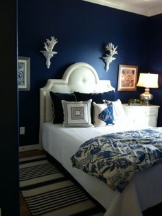 Bedroom:Sophisticated Blue Bedroom Decor For Amazing Look Dark Blue Bedroom Wall Paint Color Design Combine White Bedding Sets Plus Floral Pattern Blangket Also Antique Lamp Shade Royal Blue Bedrooms, Navy Bedrooms, Blue Rooms, Navy Blue Bathrooms, Teenage Bedrooms, Small Bathrooms, Beach House Bedroom, Home Bedroom, Modern Bedroom