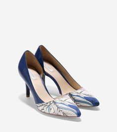 Cole Haan, Highline Pump in 75mm Pointy Toe in Twilight Blue Liberty Print, $250