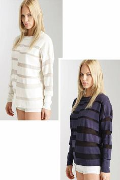 Inez Dropped Sleeve Pullover - This slightly oversized pullover has a beautiful striped pattern.  It has ribbed finishes and a stunning crew neckline.