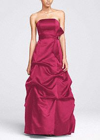 This strapless satin ball gown is perfect for a bold and dramatic look. With a pick up skirt adding extra flair and drama, this dress will make you stand out in style. The coordinating sash adds extra volume to the look. Fully lined. Back zip. Steph already pinned this-but this is the direct link to the dress.