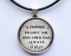"Gift for Teenage Step Son from Bride - ""I Promise to LOVE you and your Dad always""- leather cord necklace - gift for stepson from stepmom"