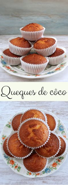 Want to prepare simple and fluffy muffins for a snack with friends? These delicious muffins aromatized with grated coconut are perfect for serving with a cup of tea or coffee! Portuguese Desserts, Portuguese Recipes, Good Food, Yummy Food, Healthy Food, Coconut Muffins, Alcoholic Desserts, Strawberry Desserts, Food Goals