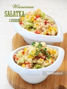 Sałatka z kuskus Salad Recipes, Diet Recipes, Vegan Recipes, Good Food, Yummy Food, Appetizer Salads, Side Salad, Fried Rice, Food Porn