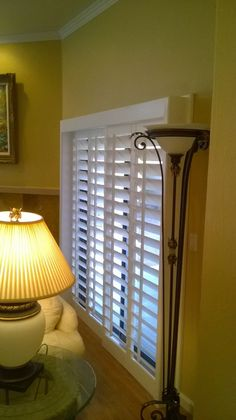 Custom Plantation Shutters for your Arcadia Door! This is our Sliding Door by-pass with header and full skirt sides. You can choose from  painted or stained, 3- 1/2 inch or 4- 1/2 inch louvers, traditional tilt rod or clear view option, and 3 frame options all at one affordable price! Visit our webpage at lmrcustomshutters.weebly.com or on facebook at https://www.facebook.com/LMRCustomShuttersLLC. (480) 489-6620