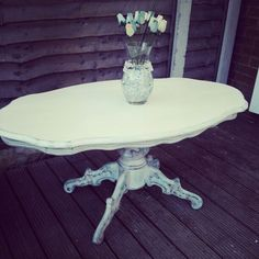 French style chalk painted and dark waxed vintage coffee table