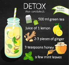 Recipe detox cocktail with green tea lemon ginger honey mint. Vector illustration for diet menu cafe and restaurant menu. Fresh smoothies detox fruit cocktail for healthy life. Detox Diet Drinks, Healthy Drinks, Detox Juices, Detox Foods, Lemon Detox, Detox Tea, Lemon Ginger Detox Water, Green Tea Lemon, Ginger Lemon Tea
