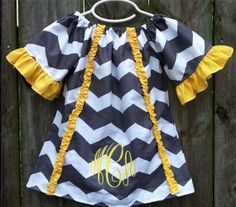 Grey and Yellow Monogrammed Chevron Dress by MissAEBoutique, $40.00